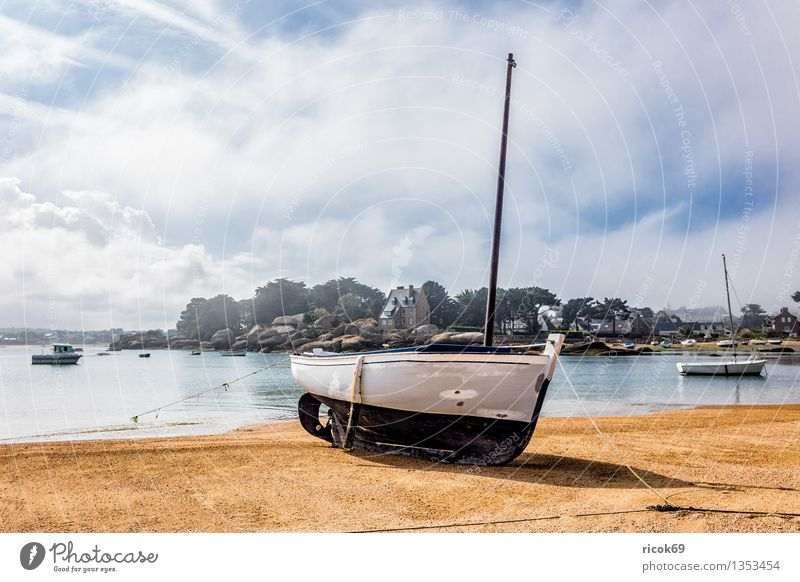 Port in Brittany Relaxation Vacation & Travel Nature Landscape Clouds Coast Ocean Harbour Tourist Attraction Watercraft Tourism Atlantic Ocean Ploumanac'h
