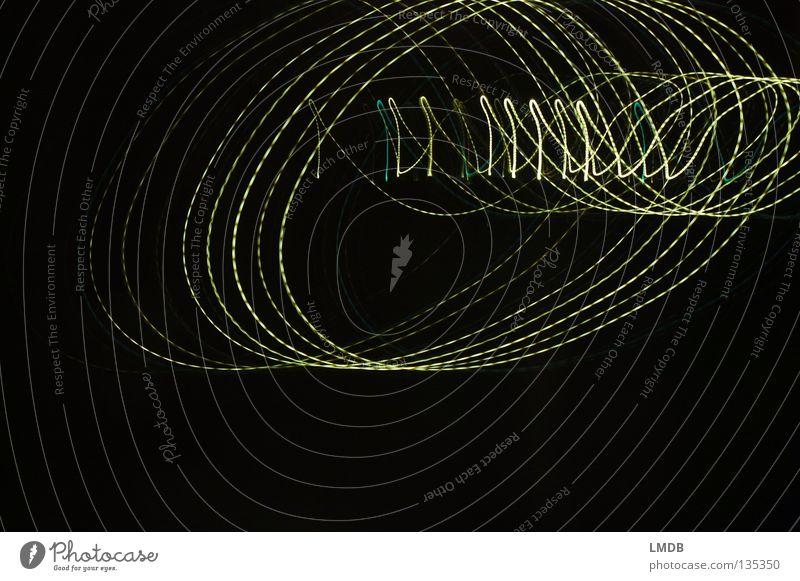 - - - @ - - - Old Testament Email Information Light Stripe Spiral Night Neon light Tracer path Long exposure Evening Dark Multicoloured Yellow Green Black