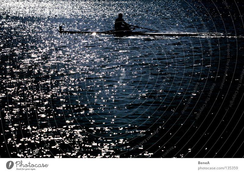 waterboy Rowing Rower Watercraft Lake Ocean Body of water Green Black White Dark Back-light Paddle Summer Refreshment Sports Aquatics Morning Sunlight Sunbeam