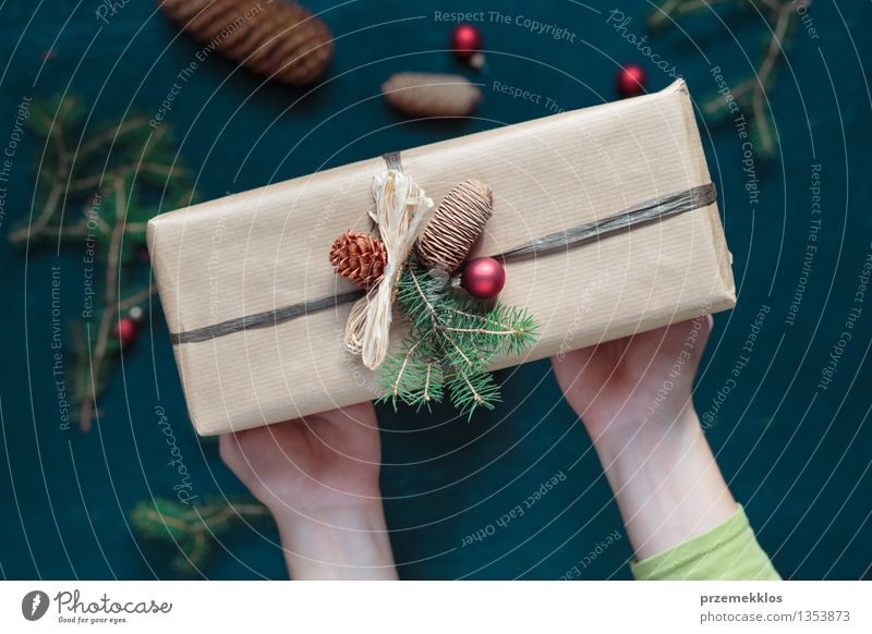 Woman holding Christmas present Hand Paper Packaging Box String Culture Tradition Guest December Gift Hold Home Horizontal Pine Wrap Colour photo Interior shot