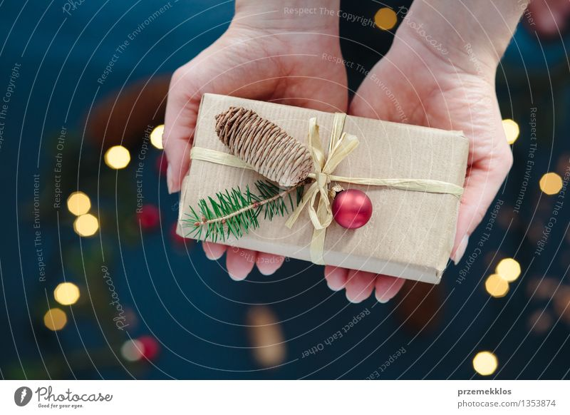Woman holding Christmas present Adults Hand Paper Packaging Box String Culture Tradition Guest December Gift Home Horizontal Pine Wrap Colour photo