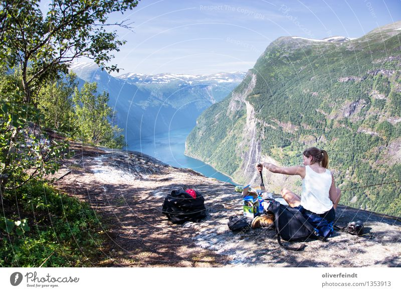 Norway Geiranger Vacation & Travel Trip Adventure Far-off places Freedom Expedition Camping Feminine Young woman Youth (Young adults) 1 Human being
