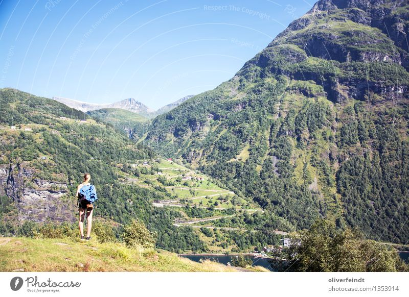 Norway XX - Geiranger Vacation & Travel Trip Adventure Far-off places Freedom Expedition Summer Summer vacation Mountain Hiking Human being Feminine Young woman