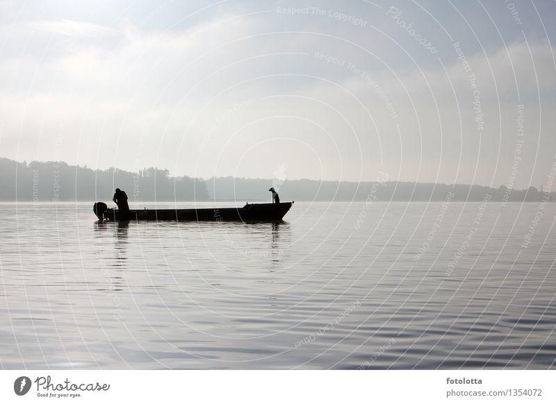 fishing boat Fish Fishing (Angle) Fisherman Man Adults Nature Water Sky Fog River Fishing boat Watercraft Motor barge Dog Catch Together Natural Blue Gray Black