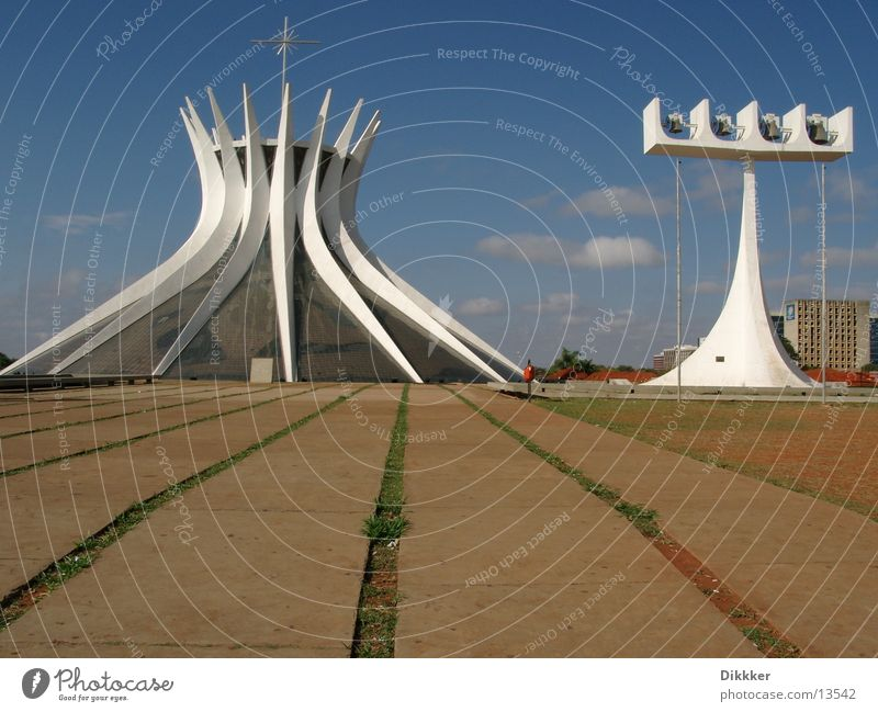 Brasilia, Cathedral Brasília White Bell House of worship Niemeyer Religion and faith Glass Sky