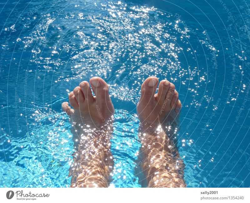 Human being Vacation & Travel Blue Summer Sun Relaxation Joy Movement Happy Swimming & Bathing Feet Glittering Contentment Leisure and hobbies Happiness
