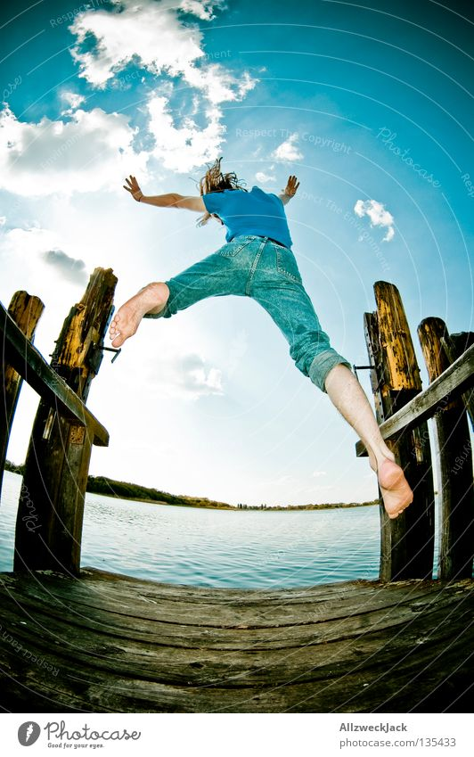 Man Water Sky Blue Summer Joy Clouds Loneliness Dark Jump Freedom Happy Lake Power Masculine Flying
