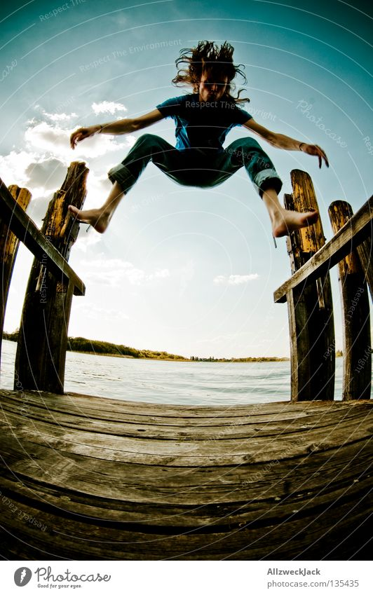 Man Water Sky Blue Summer Joy Clouds Loneliness Dark Jump Freedom Happy Lake Power Masculine Flying