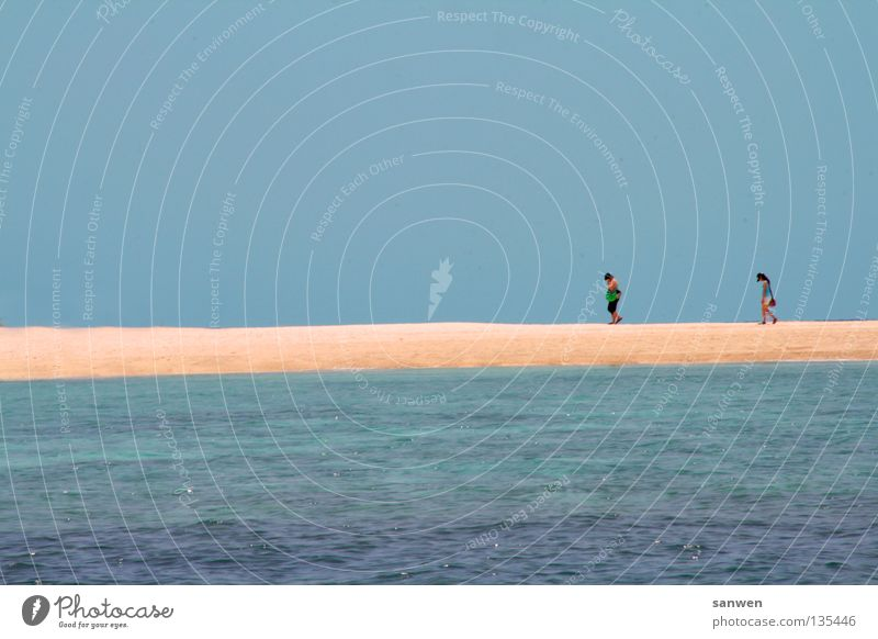Woman Human being Water Sky Ocean Blue Summer Loneliness Warmth Sand Together To go for a walk Asia Physics Dive Fatigue