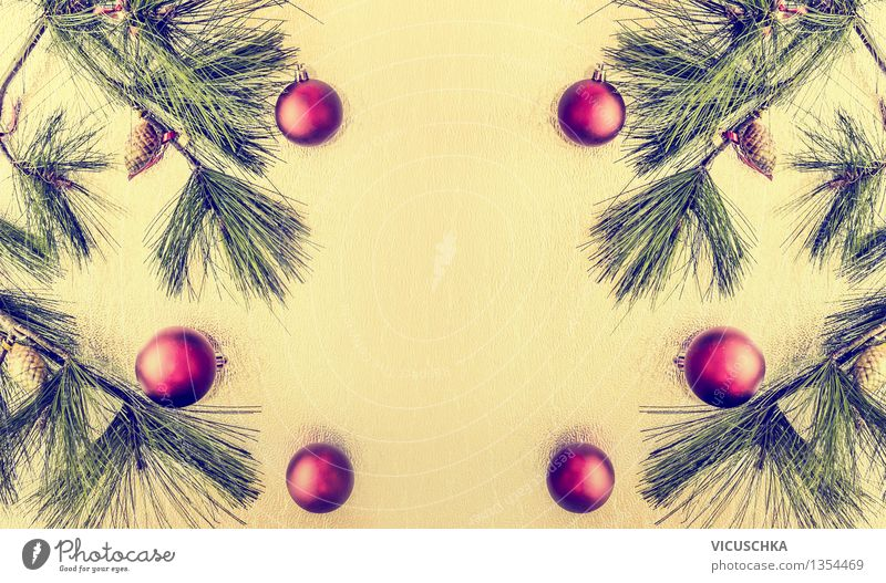 Christmas background with balls and Christmas tree Style Design Winter Decoration Feasts & Celebrations Christmas & Advent Ornament Tradition Background picture