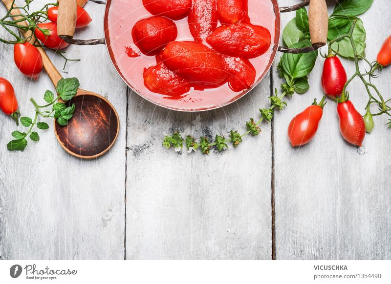 Peeled tomatoes in their own juice Food Vegetable Herbs and spices Nutrition Organic produce Vegetarian diet Diet Pot Spoon Style Design Healthy Eating Life