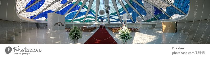 Cathedral of Brasilia (Inside) Brasília White Altar Panorama (View) House of worship Niemeyer Religion and faith Glass Blue Large Panorama (Format)