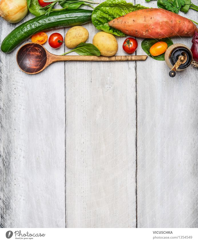 Fresh vegetables and wooden spoon on rustic background Food Vegetable Nutrition Lunch Dinner Organic produce Vegetarian diet Diet Spoon Healthy Eating Life