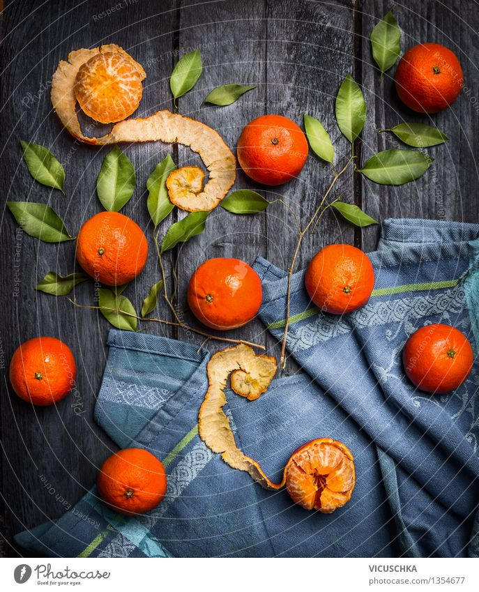 Whole and peeled mandarins with leaves Food Fruit Nutrition Organic produce Vegetarian diet Diet Juice Style Design Healthy Eating Life Decoration Table