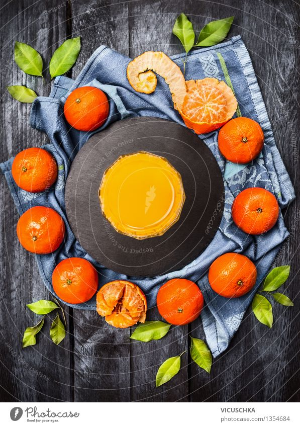 Mandarins with leaves and juice Food Fruit Nutrition Breakfast Beverage Cold drink Juice Glass Style Design Healthy Eating Life Fragrance Tangerine Fresh