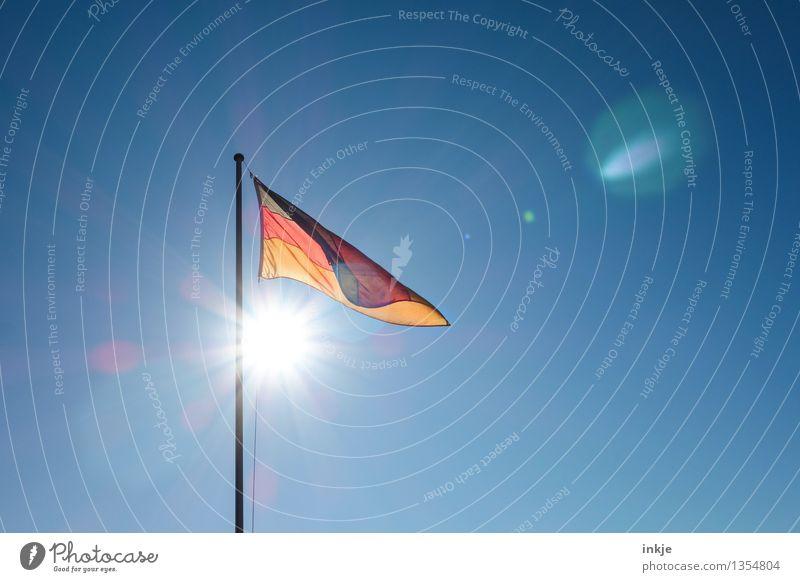 Good morning, East, good morning, West Sky Cloudless sky Sun Sunlight Wind Stripe Flag German Flag Above Positive Gold Red Black Emotions Moody Optimism Loyal