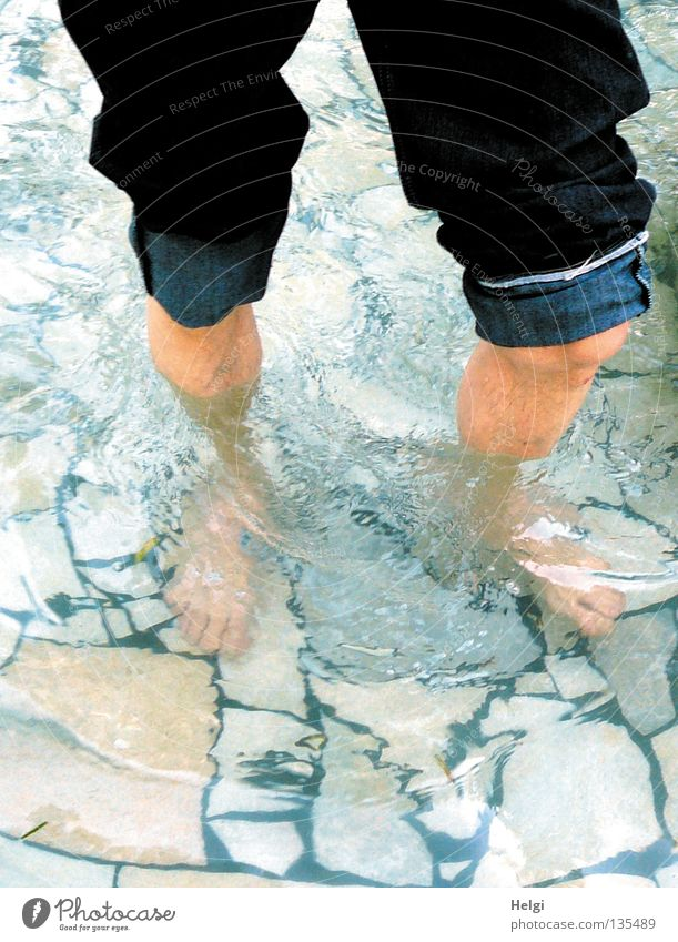 Human being Man Water Summer Joy Cold Stone Legs Feet Park Healthy Going Wet Trip To go for a walk Wellness