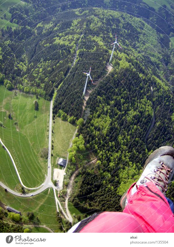 Joy Colour Sports Parachute Black Forest Orange Beginning Paragliding Departure Paraglider Betray Freiburg im Breisgau Collage Play of colours Schauinsland