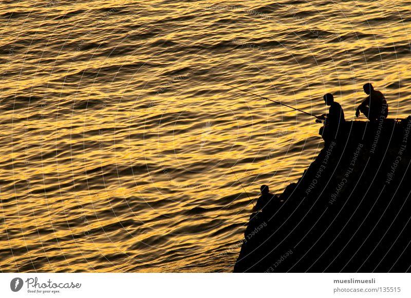 fisherman's friends Fisherman Sunset Cliff Coast Man Evening Dark Romance Night Ocean Madeira Portugal Loneliness Yellow Black Sunrise Fishing (Angle)