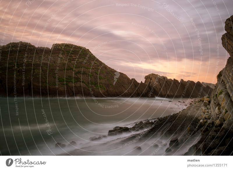 Sky Nature Green White Ocean Landscape Clouds Beach Coast Gray Brown Rock Pink Horizon Weather Waves