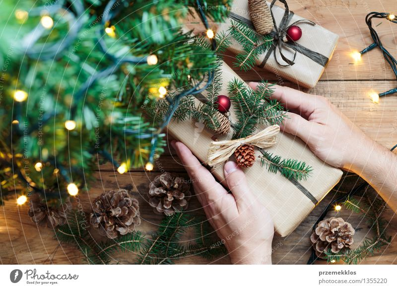 Putting Christmas presents under a tree Hand Tree Paper Package Decoration String Culture Tradition Guest December Story Gift Home Horizontal Pine Rustic