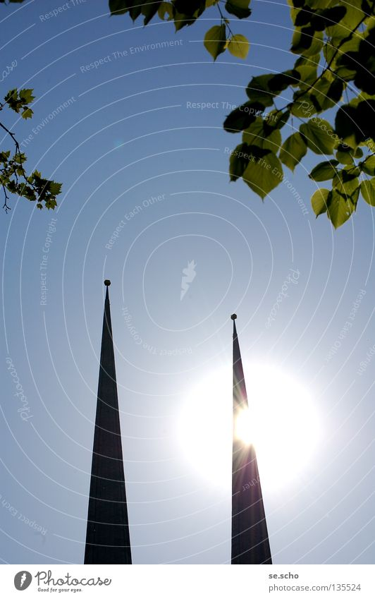 Sky Sun Bright Religion and faith Awareness Floodlight House of worship Church spire Summer's day Leaf canopy Church spire