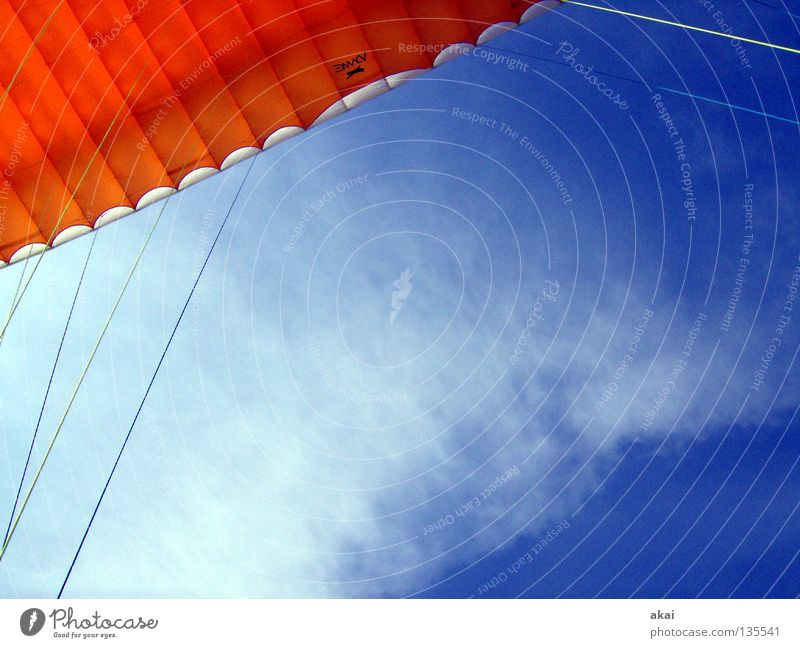 Blue Joy Clouds Colour Sports Orange Beginning Sporting event Parachute Paragliding Competition Departure Warped Sky blue Paraglider Play of colours