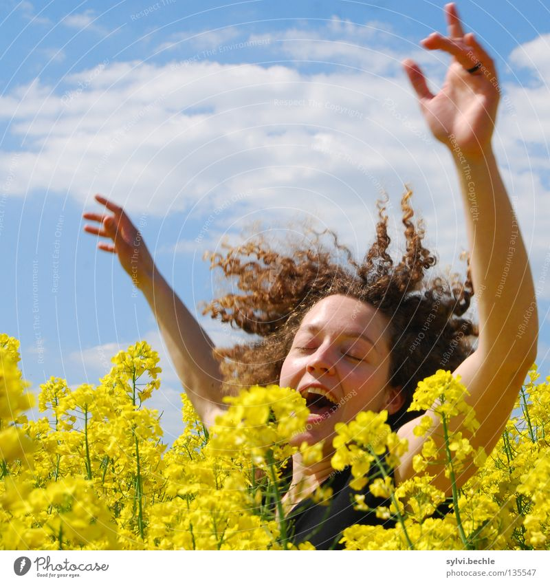 Woman Sky Hand Blue Joy Clouds Face Yellow Jump Hair and hairstyles Spring Adults Funny Field Dance Arm