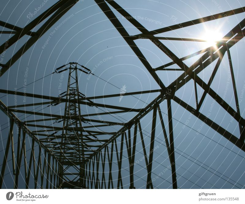 high voltage II Electricity Solar Power Electricity pylon Energy industry Wire Steel Might Dangerous Sky Industry Sun power supply Transmission lines Cable Tall