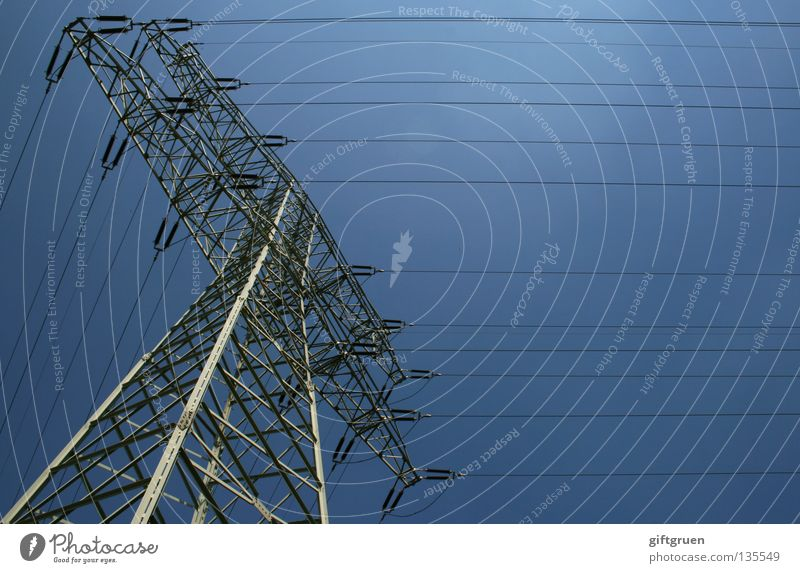 Sky Large Tall Industry Energy industry Electricity Might Dangerous Cable Level Steel Electricity pylon Wire Transmission lines