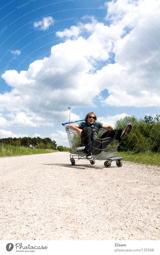please push!!!!!!!! Clouds Stand Contentment Shopping Trolley Cage Meadow Green Summer Juicy Physics Summery Man Masculine Action Dangerous Blonde Easygoing
