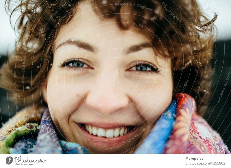 Anna Young woman Youth (Young adults) Adults Head Face 1 Human being 18 - 30 years Snow Scarf Brunette Curl Hair Looking Smiling Smiley Full Joy Joy of playing