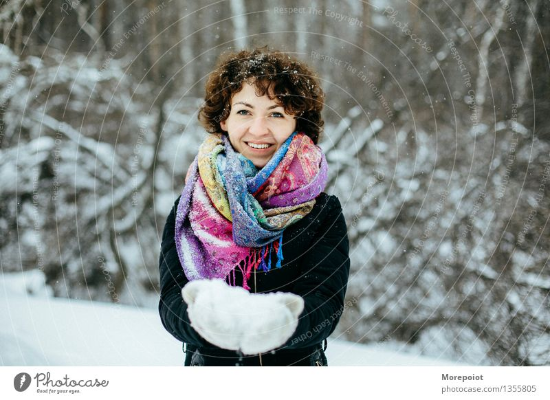 Winter fun Young woman Youth (Young adults) Woman Adults Head Breasts 18 - 30 years Nature Snow Tree Park Forest Scarf Brunette Curl Breathe Touch Playing Stand
