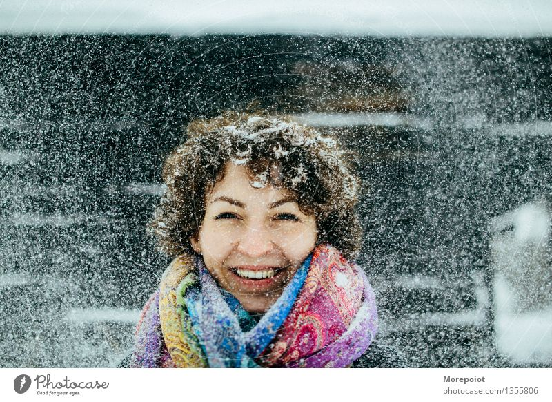 Girl Young woman Youth (Young adults) Adults Head 1 Human being 18 - 30 years Winter Snow Snowfall Scarf Brunette Curl Freeze Playing Happy Happiness Funny