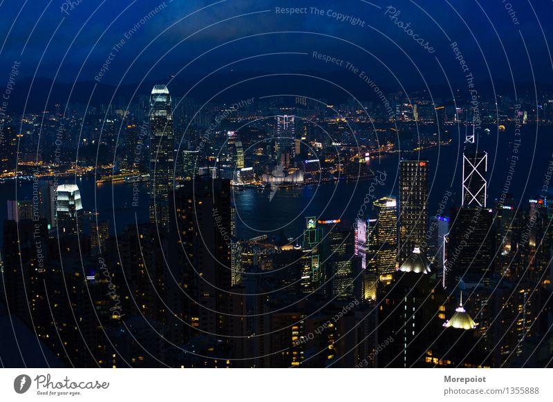 HongKong Hongkong China Town Downtown Skyline Overpopulated High-rise Architecture Roof Moody Night Night life Night sky Night shot Night light Night mood