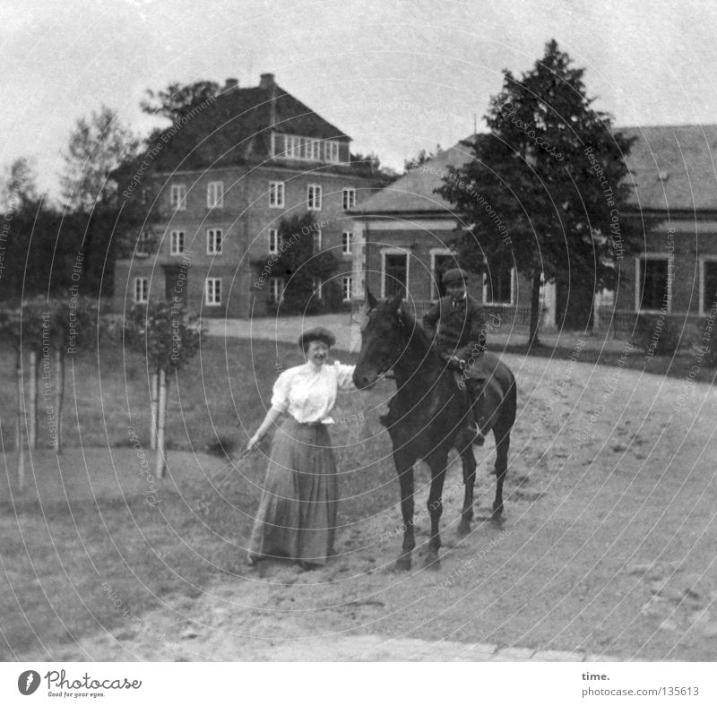 Woman Old Tree Meadow Boy (child) Building Sit Transport Clothing Horse To hold on Farm Former Entertainment Equestrian sports Means of transport