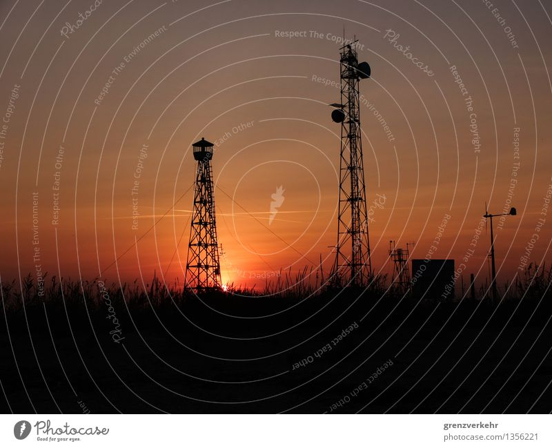 twin towers Telecommunications Information Technology Common Reed Beach Ocean Deserted Telegraph pole Satellite dish Weather station Broadcasting tower
