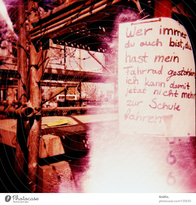 Sadness Bicycle Signs and labeling Characters Grief Letters (alphabet) Holga Violet Lomography Word Train station Distress Poster Thief Scaffold Handwriting