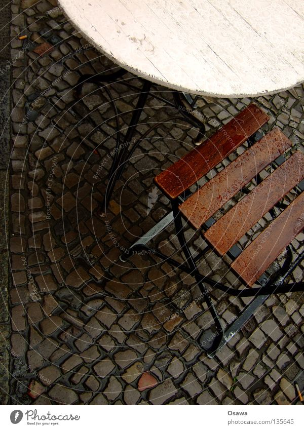 Water Rain Wet Table Chair Café Furniture Sidewalk Cobblestones Rainwater Comfortless Sidewalk café