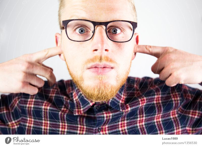 Human being Youth (Young adults) Man Relaxation Young man Calm 18 - 30 years Adults Party Masculine Music Blonde Crazy Eyeglasses Ear Facial hair