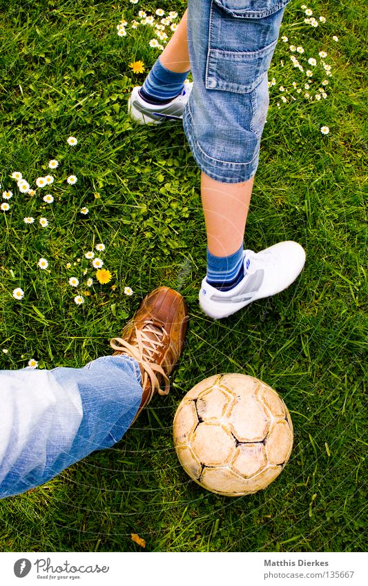 Human being Child Youth (Young adults) Green Plant Summer Sports Meadow Playing Garden Air Footwear Soccer Jeans Ball Lawn