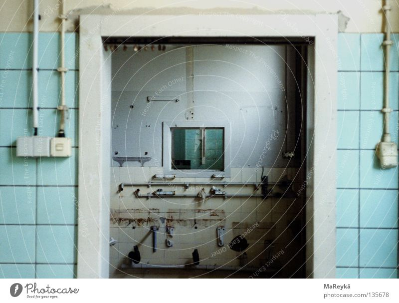 terminus Window Flow Mechanics Passage Experimental Derelict Industry Door non-sterile Loneliness Blue