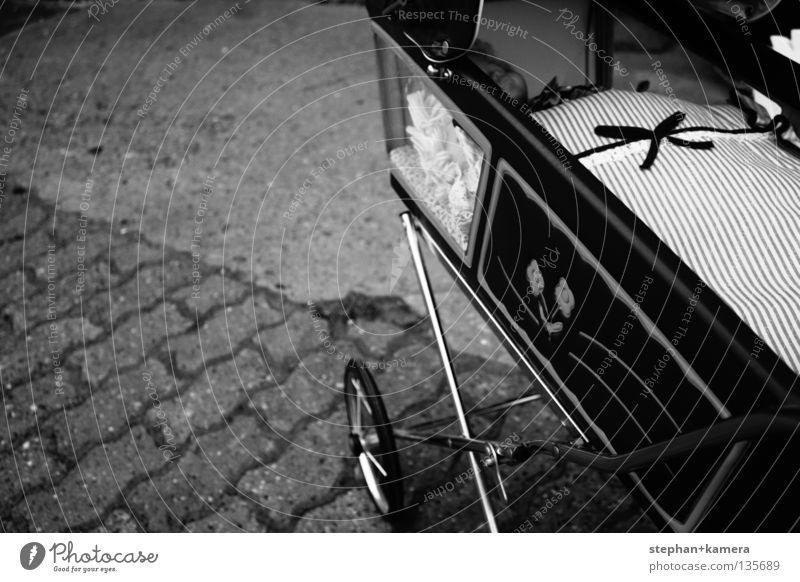 The Old Doll's Pram Carriage Toys Black & white photo pram old huge doll car toy children black moonbub stone street wheel