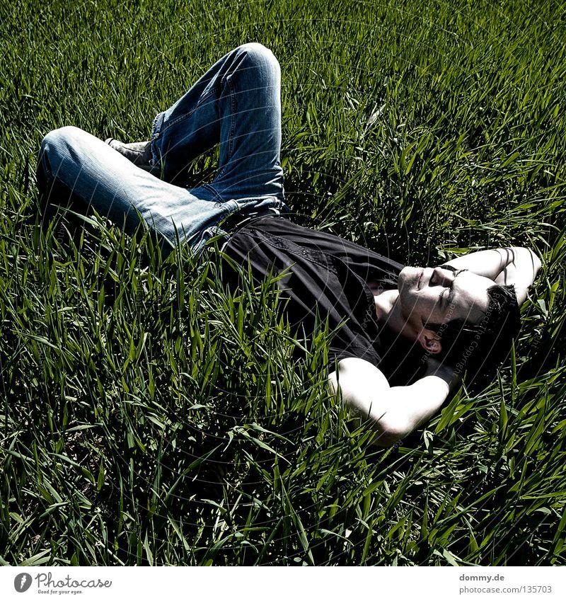 Man Nature Green Summer Relaxation Dark Grass Air Bright Field Skin Sleep Fresh Jeans Pants Shirt