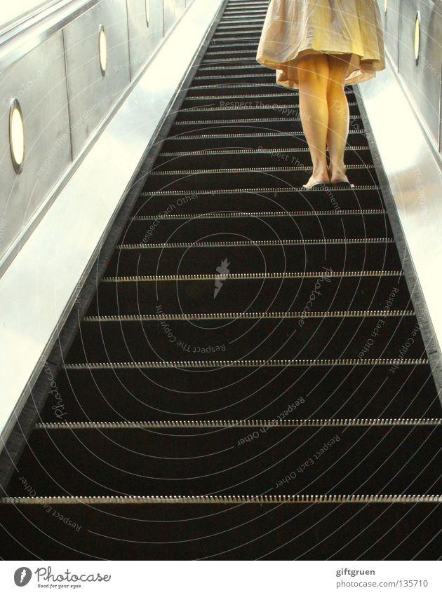 peeping tom Escalator Woman Insight Vantage point Voyeurism Detail Underground Upward Legs Looking catch