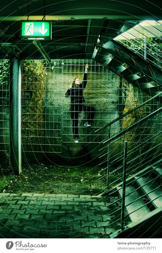 Human being Woman Nature Youth (Young adults) Green City Colour Black Architecture Jump Stairs Target To hold on Handrail Climbing Derelict