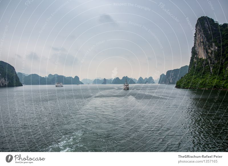 HaLong Bay Nature Landscape Water Bad weather Driving Blue Brown Gray Green Black White Vietnam Travel photography Clouds Sky Halong bay Rock World heritage