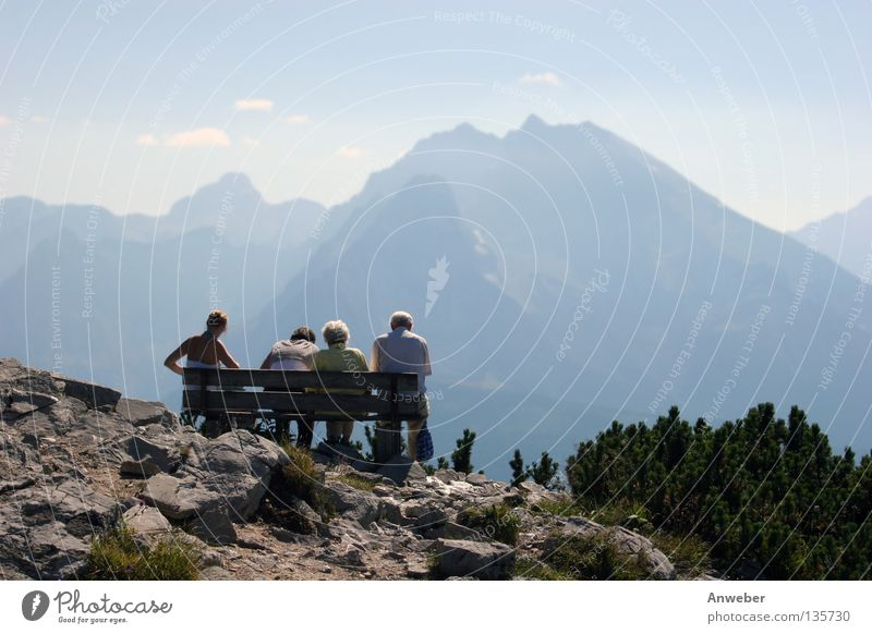 Watzmann & 3 generations on bench at Kehlstein Break Austria Europe Germany Berchtesgaden Nature Generation Family & Relations Human being Man Woman