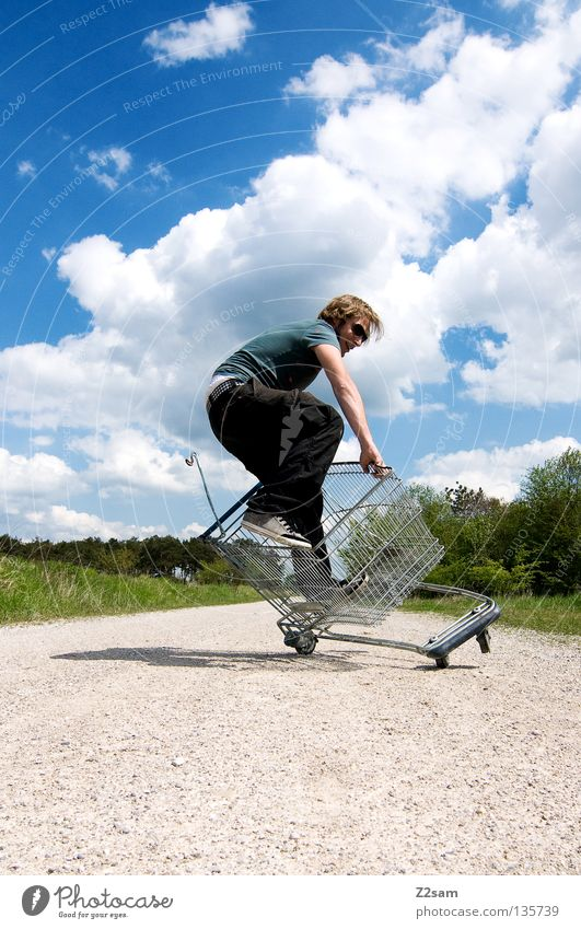 shopping surfer - typical cheap glump To fall Tumble down Contentment To hold on Green Meadow Bushes Tree Footpath Clouds Stand Shopping Trolley Cage Summer