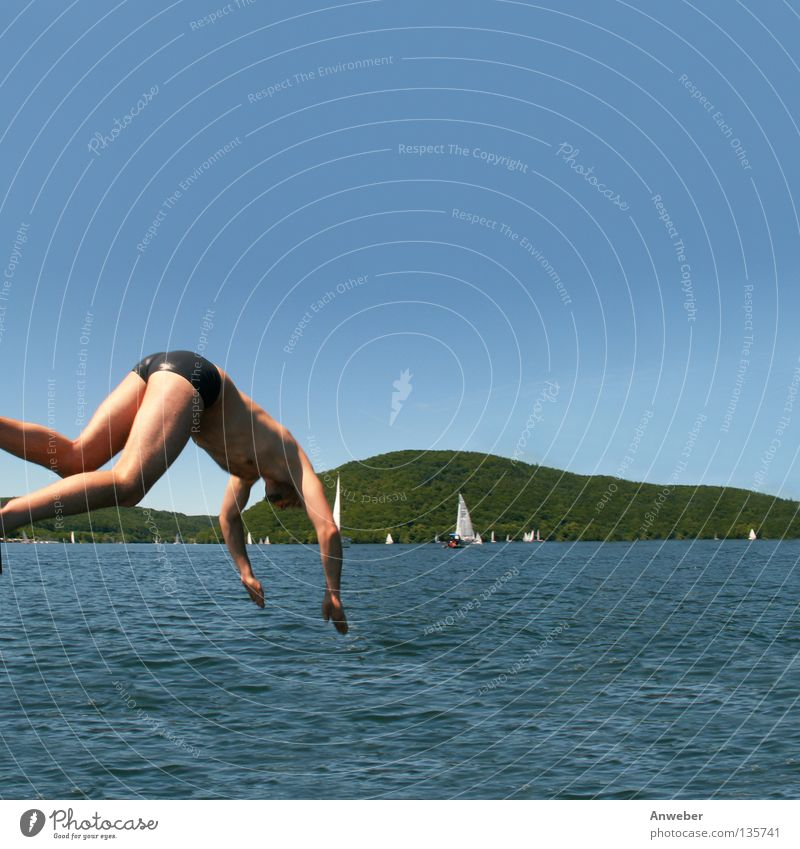 Edersee in North Hesse - Jump into the cool water Happiness Sailing trip Eder valley Summer Swimmer (professional sportsman) Summer vacation Europe Man Waves